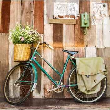 Παλιό ποδήλατο σε ξύλινο σπίτι