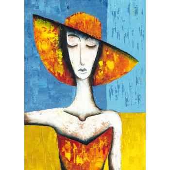 Μία γυναίκα με πορτοκαλί καπέλο
