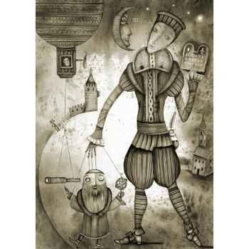 Καραγκιοζοπαίχτης με μαριονέτα αστρονόμο
