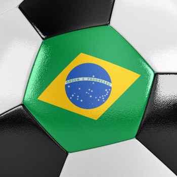 Μπάλα ποδοσφαίρου με την Βραζιλιάνικη σημαία