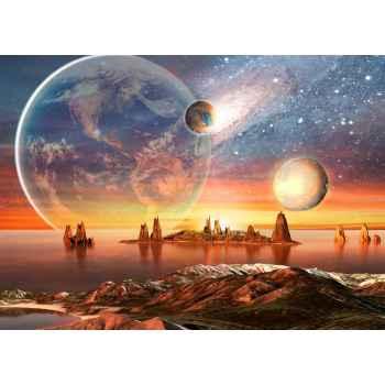 Εξωγήινος πλανήτης με βουνά και θάλασσα