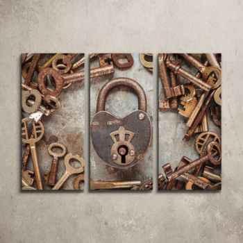 Κλειδαριά με σκουριασμένα κλειδιά - Τρίπτυχος πίνακας
