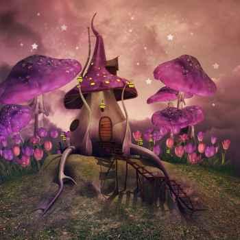 Εικόνα φαντασίας με ροζ μανιτάρια