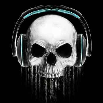 Σκελετός με ακουστικά