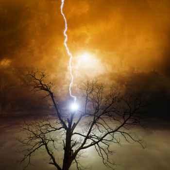 Κεραυνός πέφτει πάνω σε δέντρο