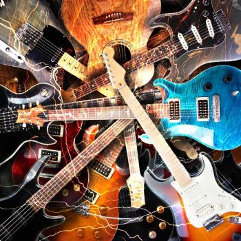Ηλεκτρικές κιθάρες περιλαμβανόμενες από αστραπές