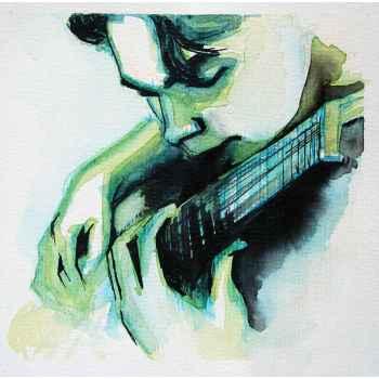 Πορτρέτο νέου άντρα με την κιθάρα του