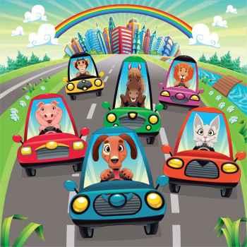 Κίνηση στον δρόμο με χαρούμενους οδηγούς