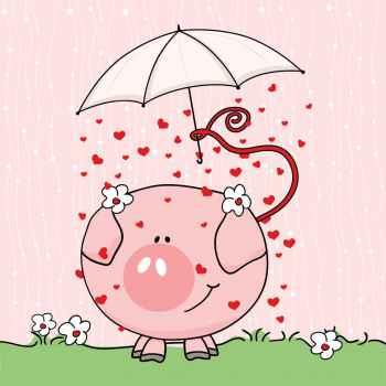 Χαριτωμένο γουρουνάκι στην βροχή