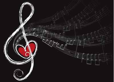 Όμορφη πρίμα αγάπης με μουσικές νότες