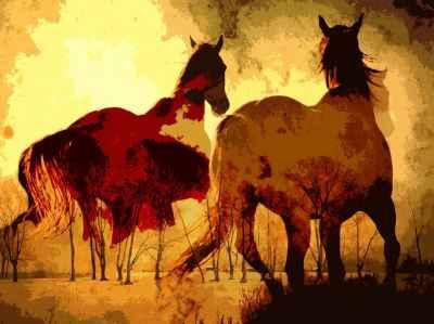 Ψηφιακή ζωγραφική με άλογα