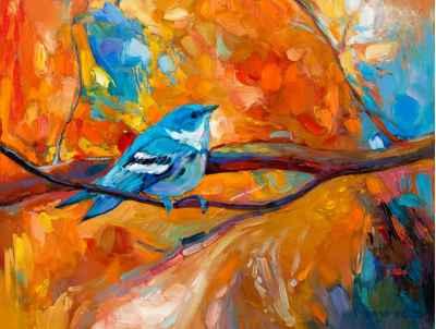 Μπλε πουλί σε κλαδί δέντρου