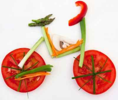 Συμβολισμός ποδηλάτου από λαχανικά