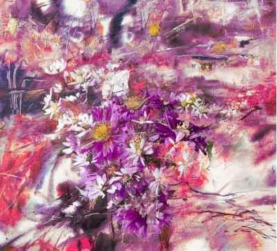 Αφηρημένη ζωγραφική με λουλούδια