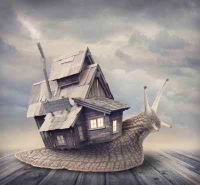 Σαλιγκάρι με κέλυφος σπίτι