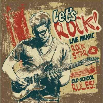 Παλιά αφίσα με έναν κιθαρίστα