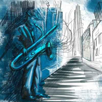 Σαξοφωνίστας στον δρόμο
