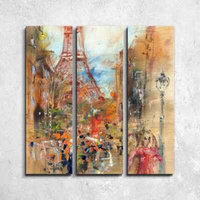 Δρόμος στο Παρίσι - Τρίπτυχος πίνακας