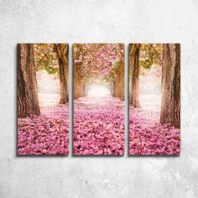 Ρομαντικό μονοπάτι με ροζ λουλούδια - Τρίπτυχος πίνακας