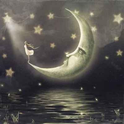 Κορίτσι συντροφιά με φεγγάρι και αστέρια