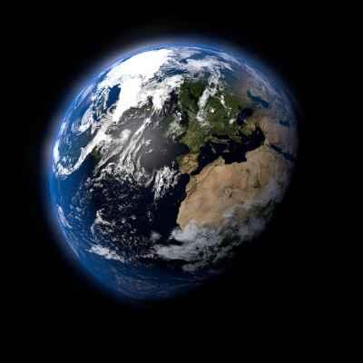 Πλανήτης γη σε μαύρο φόντο