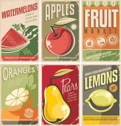 Συλλογή απο retro φρούτα