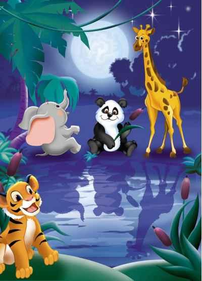 Χαριτωμένα ζωάκια το βράδυ στο δάσος