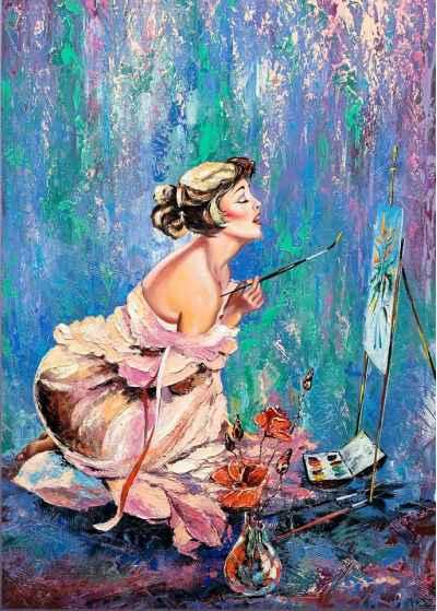 Όμορφο κορίτσι ζωγραφίζει μία εικόνα
